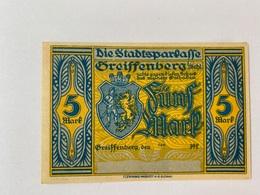 Allemagne Notgeld Greissenberg 5 Mark - [ 3] 1918-1933 : Weimar Republic