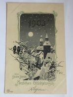 Neujahr, Jahreszahl, Kirche, Dorf,    1902, Golddruck ♥  - Neujahr