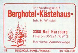 """1 Altes Gasthausetikett, Berghotel """"Kästehaus"""", Inh. H. Windel, 3388 Bad Harzburg #806 - Matchbox Labels"""