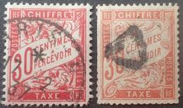 R1615/2062 - 1893/1935 - FRANCE - TIMBRES TAXE - N°33 à 34 ☉ (défectueux) - Cote (2020) : 100,00 € - Taxes