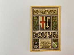 Allemagne Notgeld Pfaffendorf 50 Pfennig - [ 3] 1918-1933 : Weimar Republic