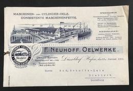 Brief 1911 DUSSELDORF NEUHOFF OELWERKE Niederlage Aachen Trier Hamburg Bremen Duisburg Dortmund Münster Köln - 1900 – 1949