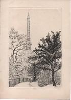 Gravure Avec Trait Carré/Jacques HOUPLAIN/La Tout Eiffel Vue D'un Square/ Vers 1950-1980        GRAV319 - Estampas & Grabados