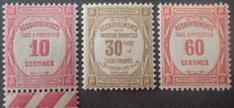 R1615/2065 - 1927/1931 - FRANCE - TIMBRES TAXE - N°56 à 58 NEUFS* - 1859-1955 Neufs
