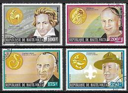 HAUTE VOLTA  -  1974 . Y&T N° 316 à 319 Oblitérés.  Zodiaque. Beethoven, Aldrin, Adenauer, Baden-Powell. - Alto Volta (1958-1984)