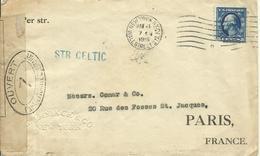 1916 Censored Letter From New York, NY To Paris, France  Steamer Celtic (White Line)  G. Amsinck & Co - Vereinigte Staaten