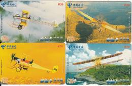 CHINA - Old Airplanes, Set Of 4 China Telecom Prepaid Card Y30-50, 10/04, Used - Telefonkarten