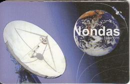 NETHERLANDS - Satellite Dish & Globe, Nondas International Prepaid Card, Used - Espace