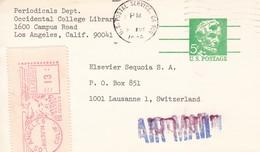 USA 1974, Card Postale. 5c Abraham Lincoln, Von Los Angeles Nach Lausanne CH, Air Mail - Ganzsachen