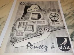 ANCIENNE PUBLICITE PENDULE  CADEAUX  JAZ 1956 - Advertising