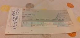 BIGLIETTO TRENO DA MILANO CENTRALE A ROMA TERMINI 1989 - Europe