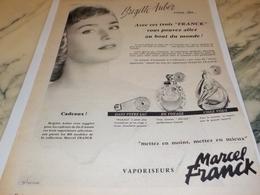 ANCIENNE PUBLICITE BRIGITTE AUBER VOUS DIT UN PARFUM  MARCEL FRANCK 1956 - Advertising
