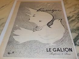 ANCIENNE PUBLICITE PARFUM SORTILEGE ET BOURRASQUE  LE GALION 1956 - Advertising