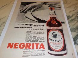 ANCIENNE PUBLICITE UN SOUPCON  RHUM NEGRITA   1956 - Advertising