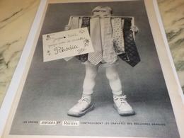 ANCIENNE PUBLICITE CRAVATES RHODIA  1956 - Advertising