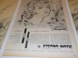 ANCIENNE PUBLICITE COEUR D OR  MONTRE ETERNA.MATIC 1956 - Advertising
