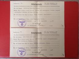 Dokument 2 Geburtsurkunden Zum Nachweis Der Arischen Abstammung 1936 WW2 Traben Trarbach Gebührenmarken - Documenti