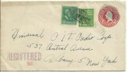 1945  Prestampel Envelope 2c + 21c Stams, Sent Registered From Troy, NY To Albany, NY - Ganzsachen