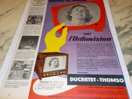 ANCIENNE PUBLICITE TELEVISION DUCRETET THOMSON HAUTE FIDELITE 1956 - Advertising