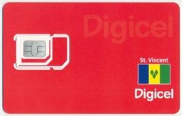 SAINT ST. VINCENT DIGICEL GSM (SIM) CARD FLAG RED BACKGROUND MINT UNUSED - Saint-Vincent-et-les-Grenadines