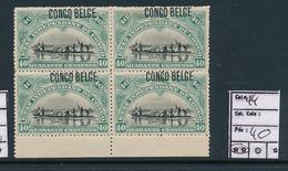 BELGIAN CONGO 1909 ISSUE TYPO COB 44 MNH MISPLACED OVERPRINT - 1894-1923 Mols: Nuevos
