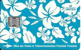 CARTE-PUCE-POLYNESIE-PF17a-30U-SC5-S/Entourage-PAREO BLEU Brillant-9 N°TGE-N°C42100729-UTILISE--TBE- - Polynésie Française