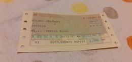 BIGLIETTO TRENO DA MILANO CENTRALE A BRESCIA 1987 - Europe