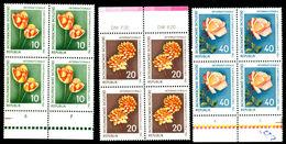 DDR Germany 1961 Flowers,Blumen,Fleurs,Tulip,Dahlia,Rose,Mi.854,Bl.x4,MNH - Rosen