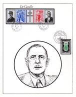 """"""" DE GAULLE """" Sur Encart Commémoratif Rare (N°102 Sur 115) De 1971 N° YT 1272 + 1698A En Parfait état ! - De Gaulle (General)"""