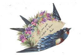 Carte Fantaisie En Celluloïd Peinte à La Main Oiseau Hirondelle Portant Message Fleurs Bonne Année Bird Swallow Flowers - Phantasie