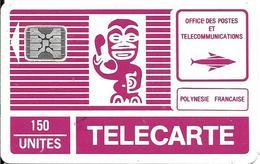 CARTE-PUCE-POLYNESIE-PF2B -150U-S/E-SC4-TR6-TIKI  FUCSHIA-2eSérie-Pt Logo- SCHLUM-5 Impact 32054-Util-R°TBE/V°BE-Rayé - Frans-Polynesië