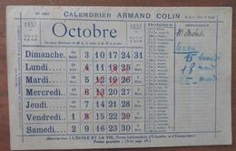 CALENDRIER- AGENDA DE POCHE: ARMAND COLIN 1937 (D'OCTOBRE 1937 À JUILLET 1938) - Calendars