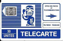 CARTE-PUCE-POLYNESIE-PF3B -30U-SC5-6MM-TIKI BLEU-Grand LOGO SCHLUM-5PE 15545--UTI-R°TBE-/V°BE - Polynésie Française