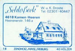 "1 Altes Gasthausetikett, ""Schloßeck"", W. U. K. Droste, 4618 Kamen-Heeren, Heerenerstr. 146a #809 - Matchbox Labels"