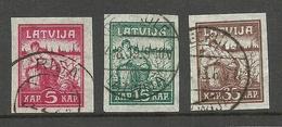 LETTLAND Latvia 1919 Michel 25 - 27 Y (pelure Paper) O - Lettland