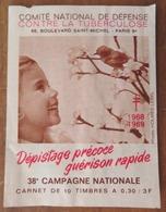 """CARNET DE TIMBRES """"COMITÉ NATIONAL DE DÉFENSE CONTRE LA TUBERCULOSE"""" 1968-69 - Advertising"""