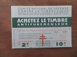 """CARNET DE TIMBRES """"COMITÉ NATIONAL DE DÉFENSE CONTRE LA TUBERCULOSE"""" 1934 CALMETTE - Publicités"""