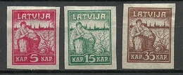 LETTLAND Latvia 1919 Michel 25 - 27 Y (pelure Paper) (*) Mint No Gum/ohne Gummi. Signed - Lettland