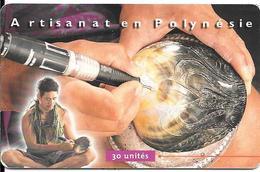 CARTE-PUCE-POLYNESIE-PF-86-30U-GEMA-07/99-GRAVEUR De NACRE-UTILISE-TBE - Polynésie Française