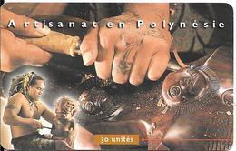 CARTE-PUCE-POLYNESIE-PF-87-30U-GEMA-07/99-SCULTEUR Sur BOIS-UTILISE-TBE - Polynésie Française