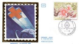 """"""" CROIX-ROUGE 1980 : OISEAUX AU SOLEIL """" Sur Enveloppe 1er Jour De MONACO De 1980 Edit° CEF N° YT 1247 FDC - Cruz Roja"""