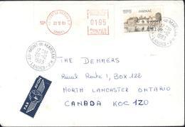 Affranchissement Mixte Machine à Affranchir EMA + YT 2287 Lettre Avion 15Gr Tarif 1 6 82 + 1 6 83 Tarif Spécil Canada - Marcophilie (Lettres)