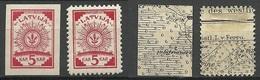 LETTLAND Latvia 1918 Michel 1 - 2 Incl. Inverted Black & White Map * - Lettland