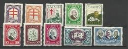 LETTLAND Latvia 1930 Michel 161 - 170 Tuberkulosis * Incl. Better WM Postitions - Lettland