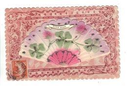 CPA Fantaisie Ajoutis BONNE ANNEE Eventail Fleurs Message Amitié Fantasy Fan Flowers Message Friendship Inside - Fantaisies