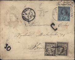 Enveloppe Jubilee Year 1887 Médaillon Victoria YT 95 CAD Brixion Ambulant Calais à Paris 1A Taxe France YT 15 + 19 - Briefe U. Dokumente