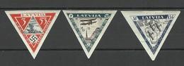 LATVIA 1933 Michel 225 - 227 B Incl. Rare INVERTED Watermark Position * - Lettland