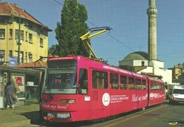 TRAM TRAMWAY RAIL RAILWAY RAILROAD TATRA SEBILJ BASCARSIJA SARAJEVO BOSNIA AND HERZEGOVINA MOSQUE Top Card 0451 Hungary - Tramways