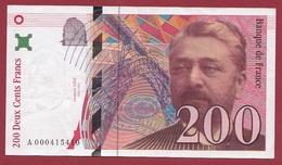 """200 Francs """"Eiffel"""" 1995 ---TTB+--ALPH -A- Numéro .000415410---PREMIER MILLION - 1992-2000 Dernière Gamme"""
