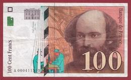 """100 Francs """"Cézanne"""" 1997 ---TB--ALPH -A- Numéro .000411393---PREMIER MILLION - 1992-2000 Ultima Gama"""